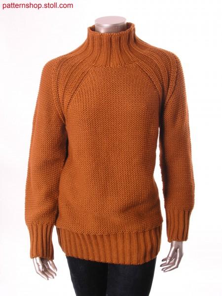 Jersey raglan pullover with 2x2 rib / Rechts-Links Raglanpullover mit 2x2 Rippe