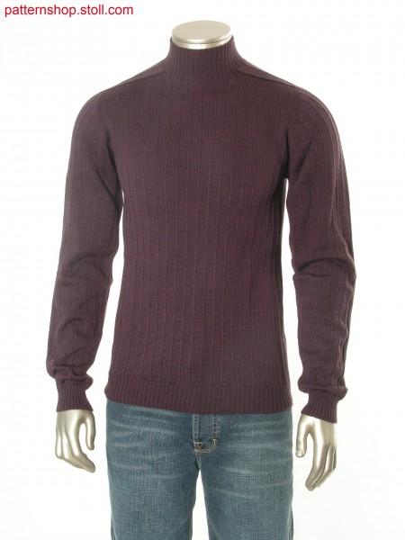 Jersey pullover with one needle vertical stripes / Rechts-Links Pullover mit vertikalen Nadelstreifen