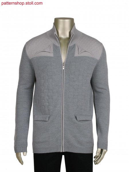 Fully Fashion cardigan with 3 layered integrated pocket, Stoll-applications&reg