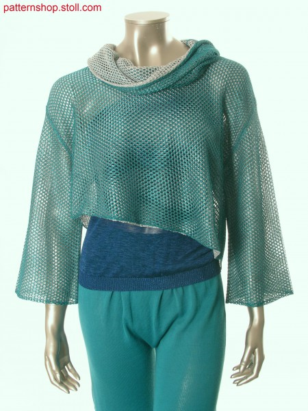 Fully Fashion short pullover in 2-colour mesh structure / Fully Fashion Kurzpullover in 2-farbiger Netzstruktur