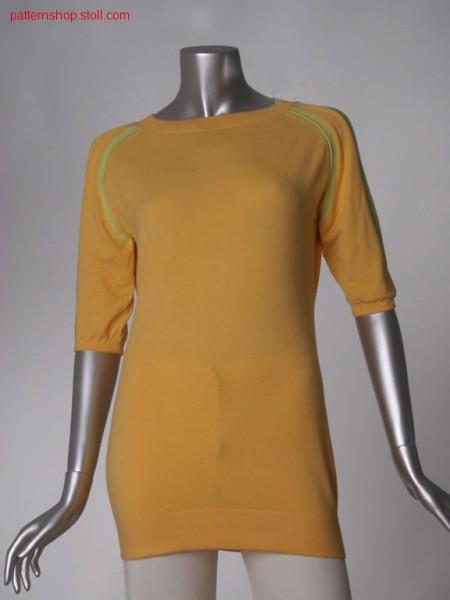 Fitted FF-jersey raglan pullover with box pleats / Taillierter FF-Rechts-Links Raglanpullover mit Kellerfalten
