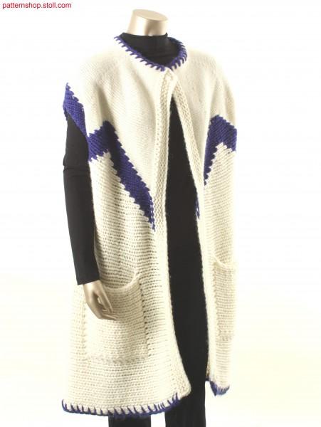 Long waistcoat with hem and neckline in handicraft look / Lang-Weste mit Saum und Ausschnitt in Handarbeitsoptik