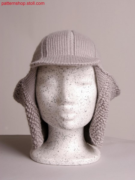 Stoll-knit and wear&reg hat with flaps in plush optic, integral peak