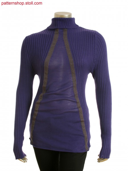 Fully Fashion turtle neck pullover with 3x3 rib and single jersey, intarsia in front needle bed