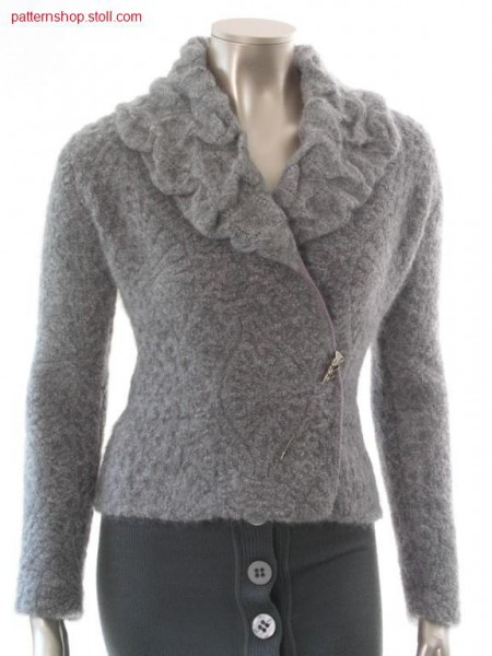 Fitted FF fake fur cardigan in reliefjacquard-plush / Taillierte Strickpelzjacke in Reliefjacquard-Pl