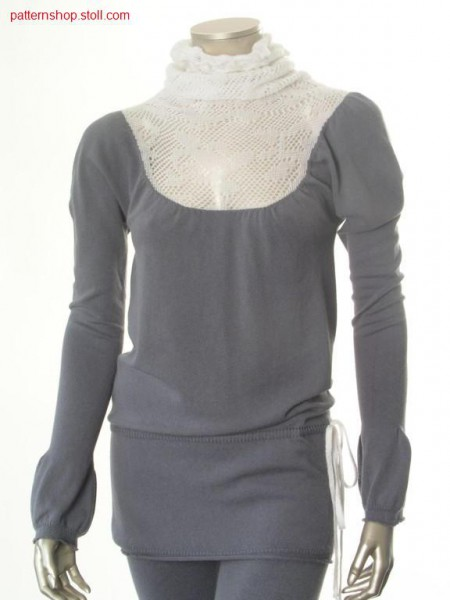 Long jersey pullover with puff sleeves / Langer Rechts-LinksPullover mit Puff