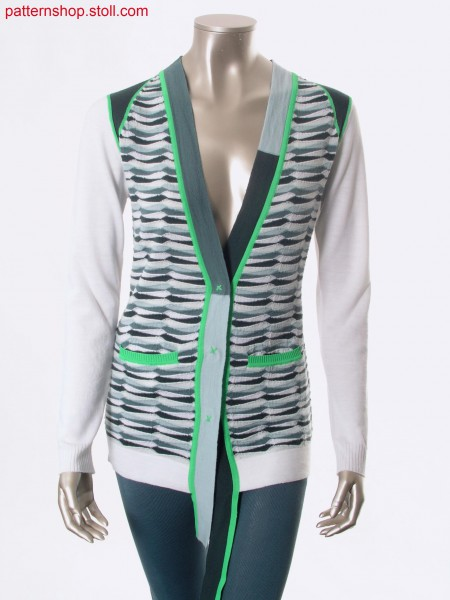 Fully Fashion-intarsia cardigan with horizontal stripes / Fully Fashion-Intarsia Strickjacke mit Ringeln