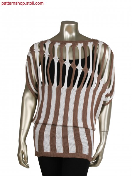 Fully Fashion intarsia top wiht overlapped straps (28 OIFF), knitted in one piece