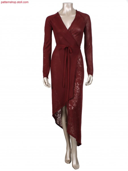 Jersey wrap-around dress with floral filigree motif / Rechts-Links Fully Fashion Wickelkleid