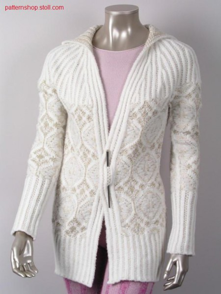 Jacquard cardigan with linked-off 2x2 collar / Jacquard Strickjacke mit abgeketteltem 2x2 Kragen