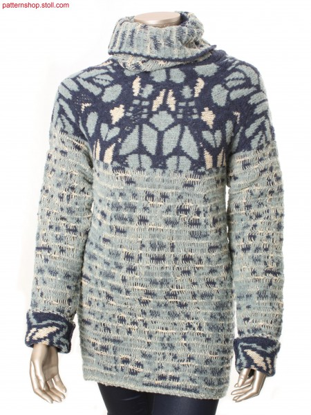 Fully Fashion raglan pullover in 3-colour jacquard / FullyFashion Raglanpullover mit 3-farbigen Jacquard