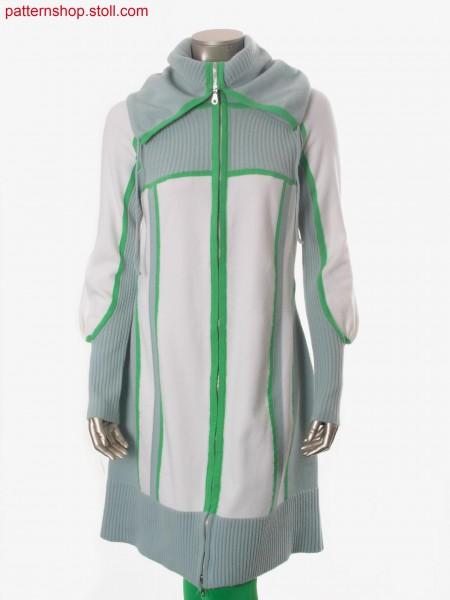 Felt-like Fully Fashion-intarsia coat with puff sleeves / Filzartiger Fully Fashion-Intarsia Mantel mit Puff