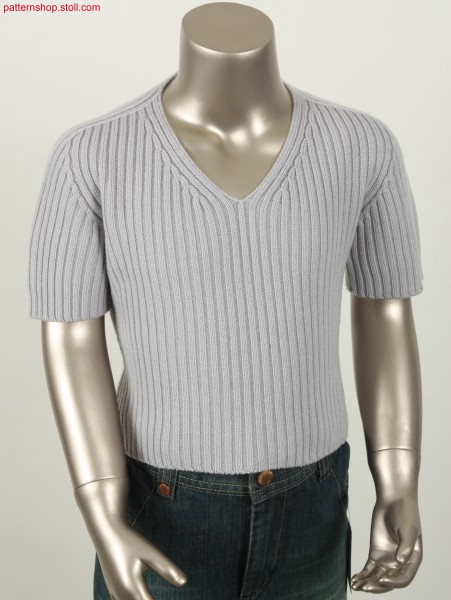 Short-sleeved Pullover in 2x2 rib with saddle shoulder / Kurzarmpulli in 2x2 Rippe und Sattelschulter