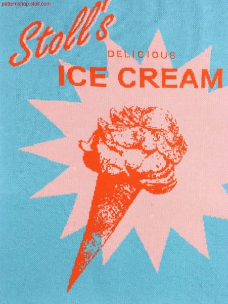 Swatch with ice cream motif / Musterabschnitt mit Eiscrememotif