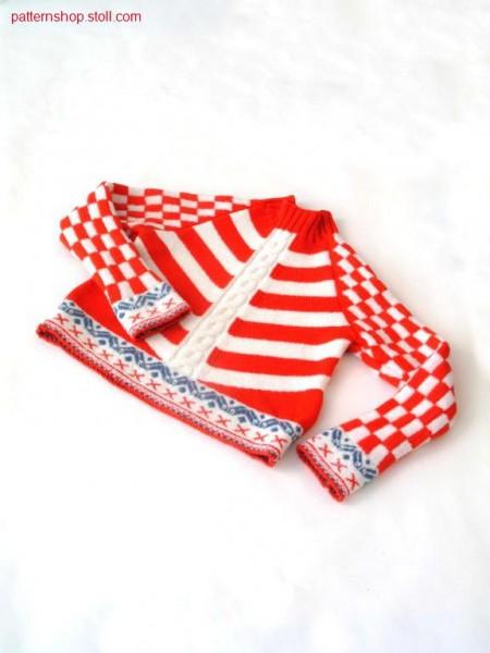 Ringed FF-Intarsia children's raglan pullover / Geringelter FF-Intarsia Kinderraglanpullover