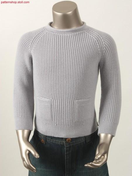 Half-Cardigan Raglan Pullover with patch pockets / Perlfang Pullover mit Raglan und aufgesetzten Taschen
