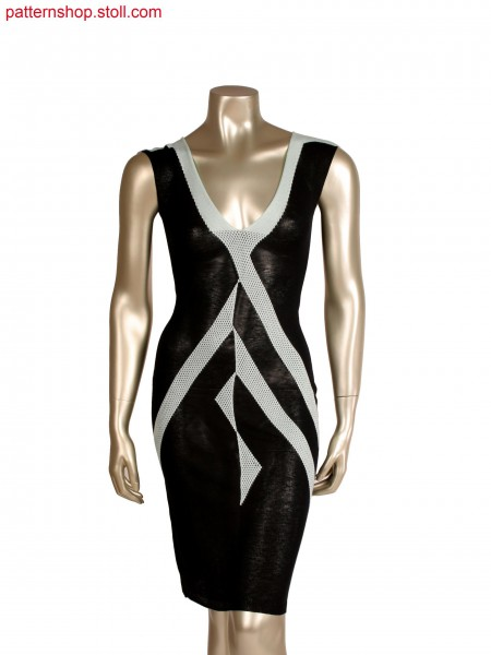 Stoll-multi gauges&reg, Fully Fashion evening dress, cablestructure with different yarn ends