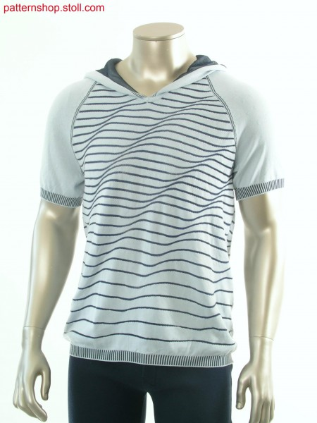 Striped Fully Fashion short-sleeved hooded pullover / Geringelter Fully Fashion Kurzarm-Kapuzenpullover