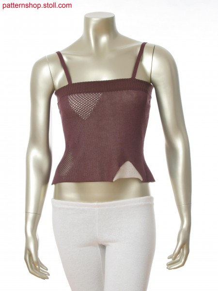 Stoll-knit and wear&reg Top with net structure and asymmetric openings