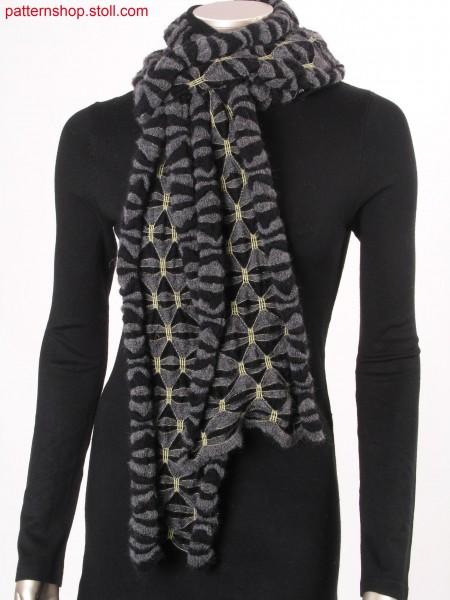 Ringed scarf with gathering by elastic thread / Geringelter Schal mit Raffungen durch Elastikfaden