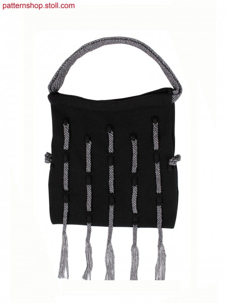 Fully Fashion bag, Stoll-applications&reg for woven optic,pointelle, gore technique for details, hand made macrame