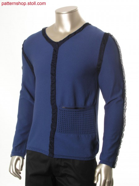 Fully fashion pullover with intarsia tapes / Fully Fashion Pullover mit Intarsiab