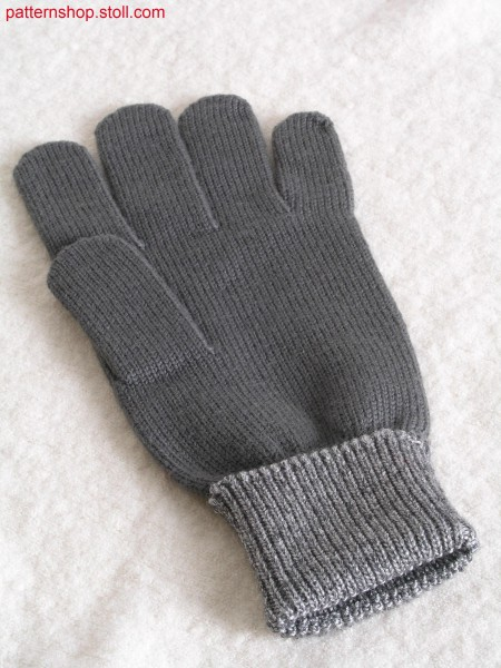 Jersey gloves with 1x1 rib double cuffs / Rechts-Links Handschuhe mit Umschlagb