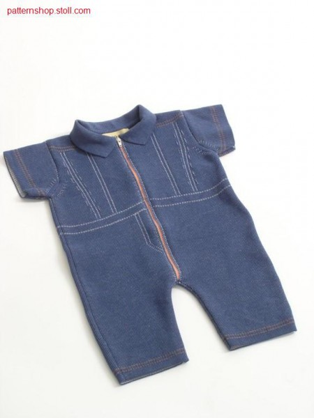 Intarsia jeans romper suit in half-cardigan / Intarsia Jeansstrampelanzug in Perlfang