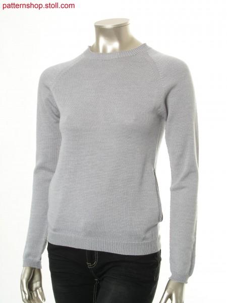 Jersey raglan pullover with side slit pockets / Rechts-Links Raglanpullover mit seitlichen Schubtaschen