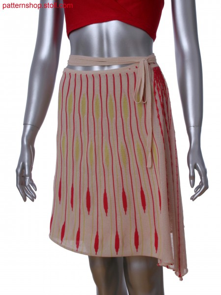 Wrap around skirt. Transversal knitted in 3-color gore technique