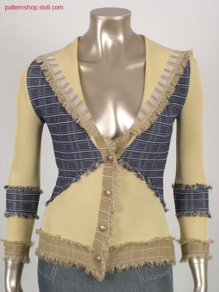 Fitted jacquard-intarsia jeans cardigan / Taillierte Jacquard-Intarsia Jeansstrickjacke