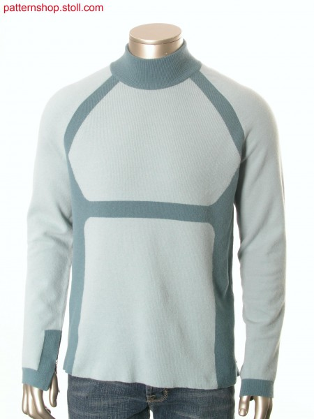 Fully Fashion-intarsia felt raglan pullover / Fully Fashion-Intarsia Filz-Raglanpullover