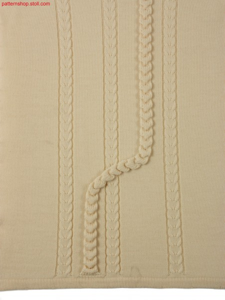 Knitted fabric with 2x2 cables and tape application / Gestrick mit 2x2 Z