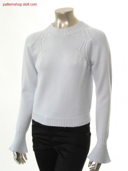 Jersey raglan pullover with trumpet sleeves / Rechts-Links Raglanpullover mit Trompeten