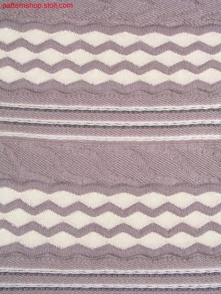 Swatch with striped structure and waves in gore-look / Gestrick mit Strukturringel und Wellen in Spickeloptik