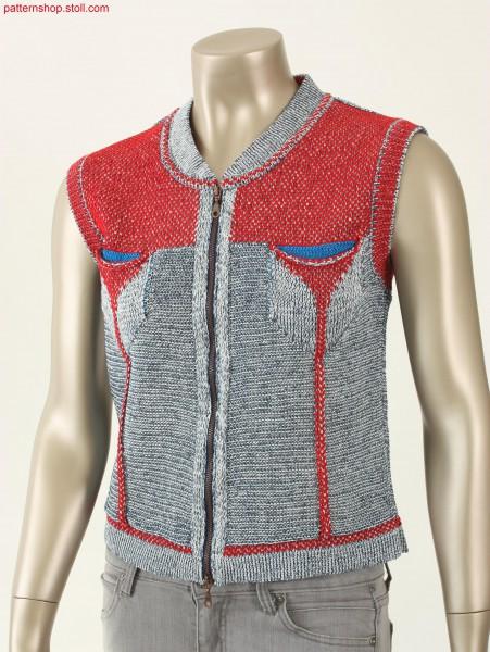 Fully Fashion waistcoat in plated jersey / Fully Fashion Weste in plattiertem Rechts-Links