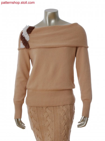 Fully Fashion single jersey pullover. Collar with big cross cable and fringes in 1x1 technique
