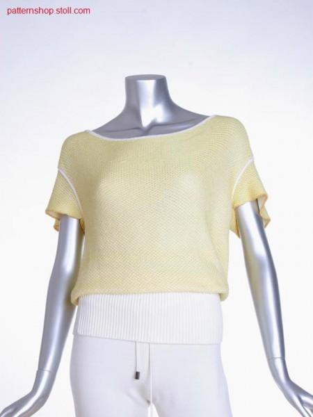 FF short-sleeved pullover with 2-colour float jacquard / FF Kurzarmpullover mit 2-farbigem Flottjacquard