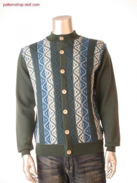 Fully Fashion cardigan with 2-colour relief jacquard / FullyFashion Strickjacke mit 2-farbigem Reliefjacquard