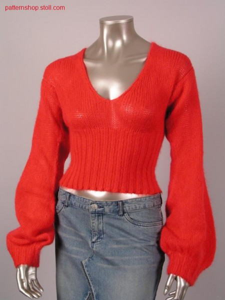 Jersey pullover with high 2x2 rib body cuff / Rechts-Links Pullover mit hohem 2x2 Rippe Leibbund
