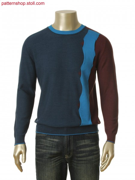 Fully Fashion-intarsia pullover with tape application / Fully Fashion-Intarsia Pullover mit Bandapplikation