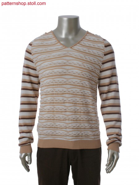 Fully Fashion pullover with raglan sleeve and hood, 3-color single jersey multi-structure stripes and gore technique.