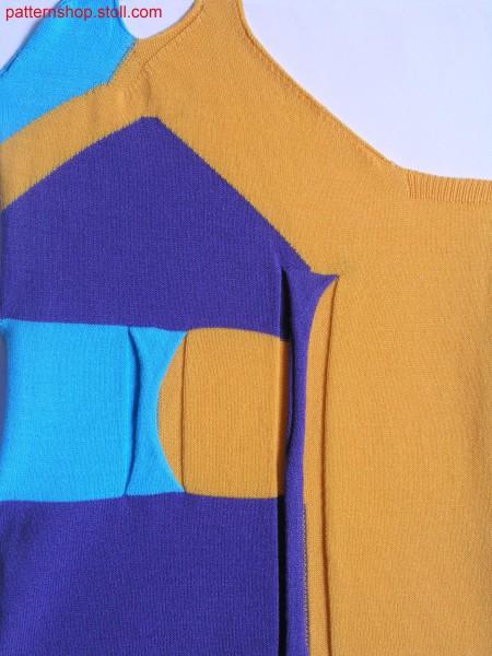 Fully Fashion-intarsia knit swatch with tape applications / Fully Fashion-Intarsia Strickteil mit Bandapplikationen