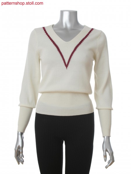 Fully Fashion women's V-neck pullover with integrated neckline as a tubular with 2-color intarsia