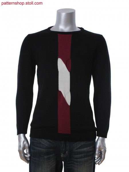 Fully Fashion men's pullover in 1x1 technique with twisted 2layers and 3-color intarsia stripes
