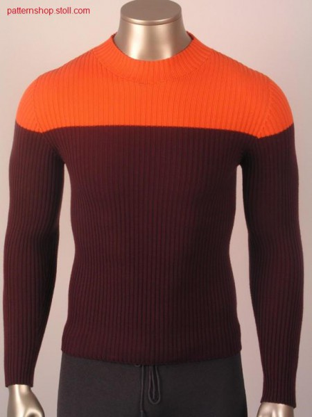 Pullover in 2x2 rib with french shoulder / Pullover in 2x2 Rippe mit franz