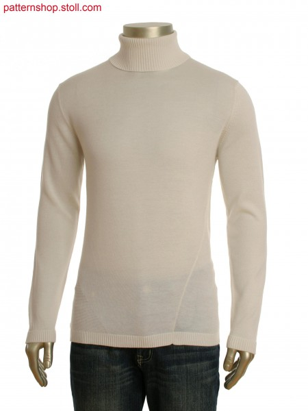 Fully Fashion classic turtle neck in diagonal stitch direction with asymmetric side seam