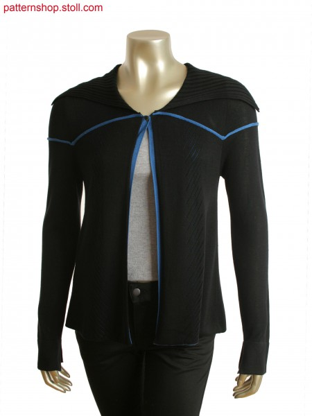 Fully Fashion folded cardigan with pointelle, pick up detailand pleats at shoulder.
