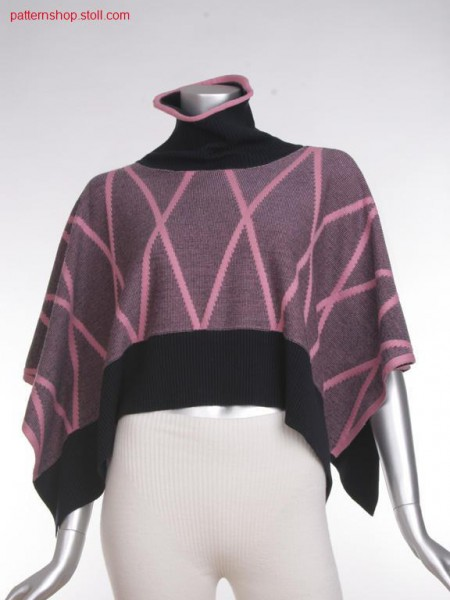 Fully fashion cape with 2-colour relief jacquard / Fully Fashion Umhang mit 2-farbigem Reliefjacquard