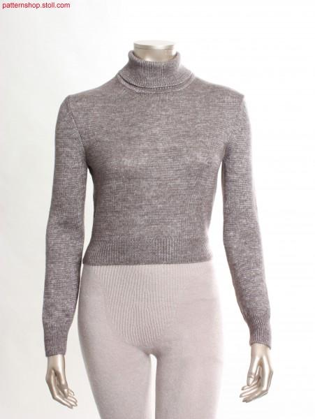 Short Fully Fashion jersey turtle-neck pullover /Kurzer Fully Fashion Rechts-Links Rollkragenpullover